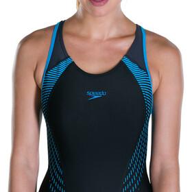 speedo Fit Laneback Swimsuit Women Black/Oxid Grey/Winsdor Blue